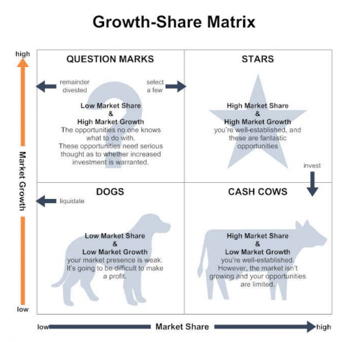 Growth-Share Matrix with market growth and market share as axes.