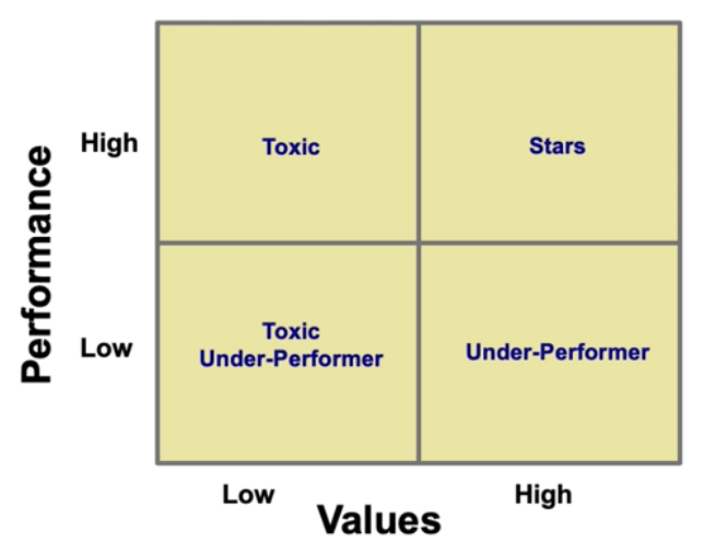 Steve Sliwa Matrix for annual performance reviews with performance and values as axes