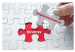 Puzzle piece showing strategy and implementation