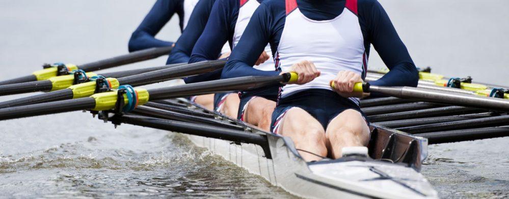 Crew rowing boat